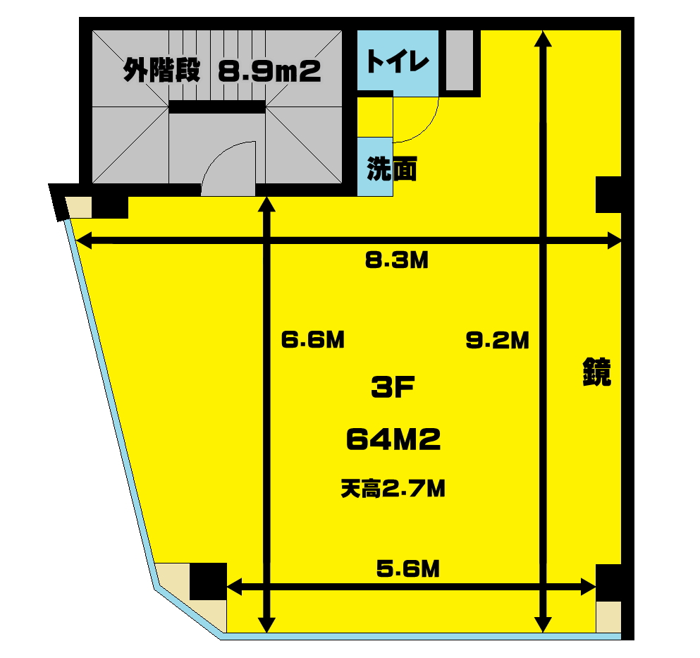 下北沢 レンタルスタジオ,図面,間取り,広さ
